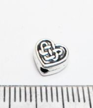 Tibetan Style Silver Celtic Heart spacer beads x 100